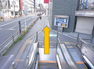 交差点の信号を渡って右に曲がってください。